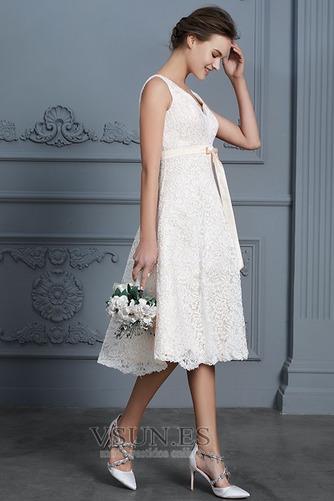Vestido de novia Playa Natural Falta Escote en V Arco Acentuado Cremallera - Página 5