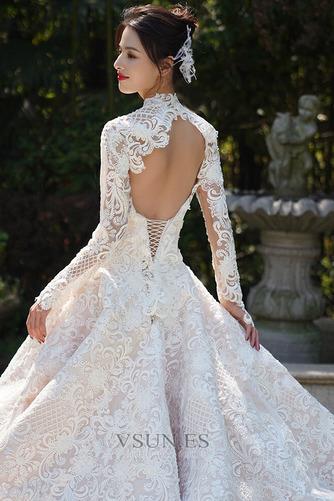 Vestido de novia Cola Real Encaje Camiseta Natural Escote con cuello Alto - Página 5