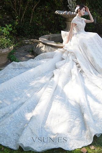 Vestido de novia Invierno Iglesia Formal Manga corta Corpiño Acentuado con Perla - Página 3