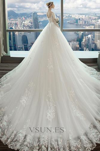 Vestido de novia Capa de encaje Baja escote en V Apliques Formal Corte-A - Página 2
