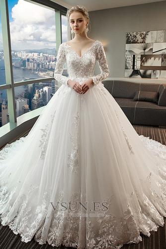 Vestido de novia Capa de encaje Baja escote en V Apliques Formal Corte-A - Página 1