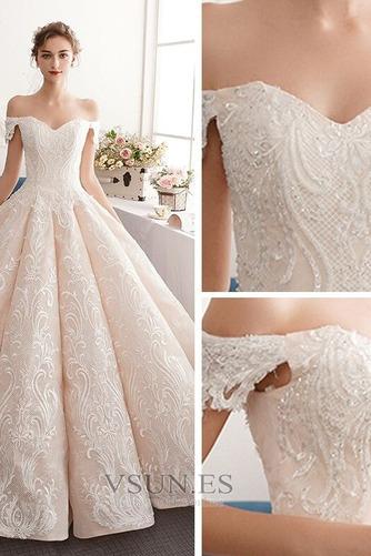 Vestido de novia Natural Corte-A Escote con Hombros caídos Pera Capa de encaje - Página 6