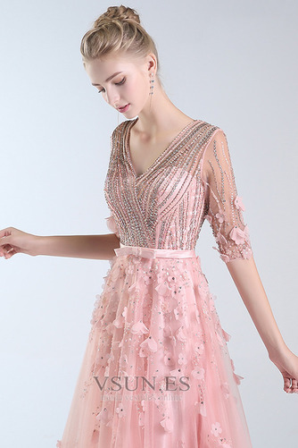 Vestido de fiesta Escote en V Elegante Corpiño Acentuado con Perla Natural - Página 5