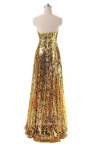 Vestido de fiesta Con lentejuelas Corte-A Natural Hasta el suelo Sin mangas - Página 2