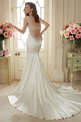 Vestido de novia primavera Escote en V Sala Dobladillos Cremallera Satén Elástico - Página 2