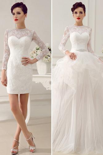 Vestido de novia Clasicos Otoño Asimètrico Cristal largo Cremallera - Página 3