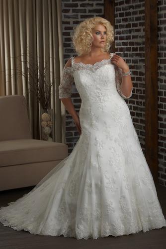 Vestido de novia Apliques Cola Capilla Mangas Illusion Sala Otoño Natural - Página 1