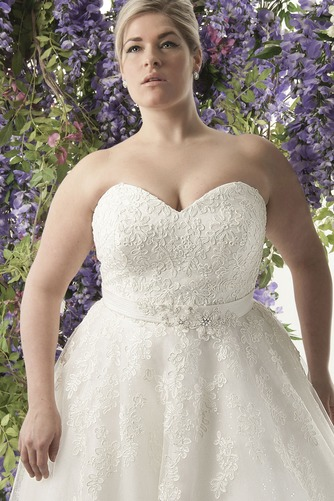 Vestido de novia Encaje Fajas largo Natural Escote Corazón Cordón - Página 3