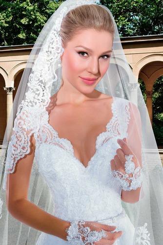 Vestido de novia Con velo Corte-A Apliques Otoño Natural Encaje - Página 3