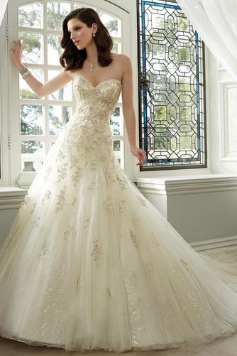 Vestido de novia Espectaculares tul Apliques Cola Catedral Escote Corazón - Página 1