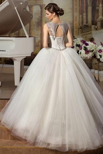 Vestido de novia Sin mangas Sala Joya Otoño Cintura Baja Cinturón de cuentas - Página 2