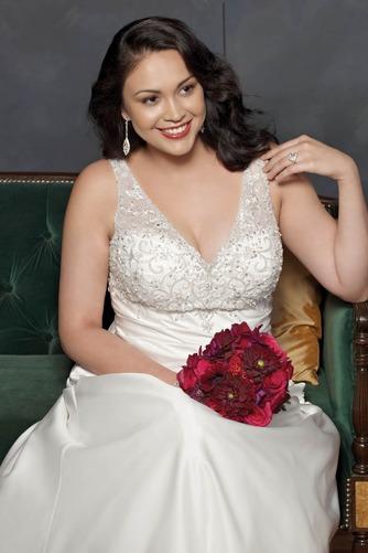 Vestido de novia Corte-A Cola Catedral Satén Sala primavera Escote en V - Página 3