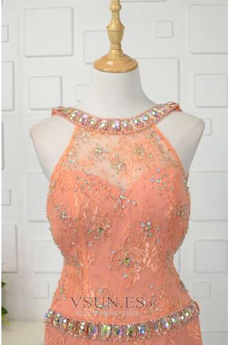 Vestido de fiesta Abalorio Corte-A Elegante Natural Encaje Rectángulo - Página 4