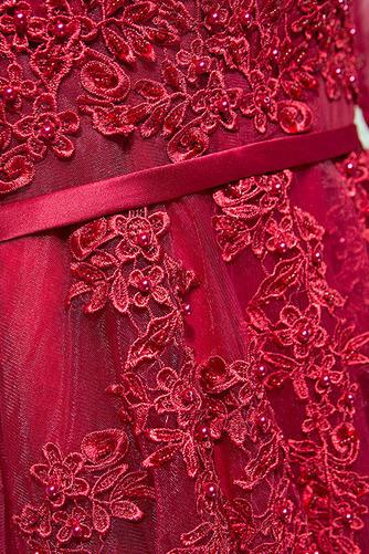 Vestido de dama de honor Verano Elegante Capa de encaje Mangas Illusion Escote en V - Página 3
