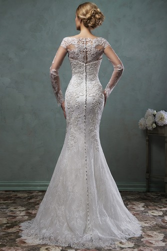 Vestido de novia Corte Sirena Natural Barco Apliques Otoño Alto cubierto - Página 2