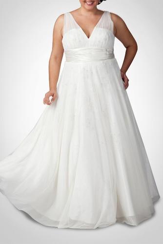 Vestido de novia Sala tul Corte-A Espalda medio descubierto Escote en V - Página 1
