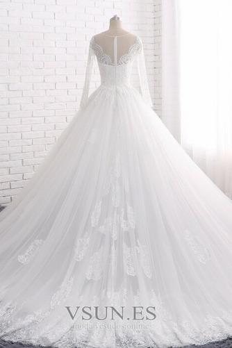 Vestido de novia Manga larga Joya Apliques Cremallera largo Corte-A - Página 2
