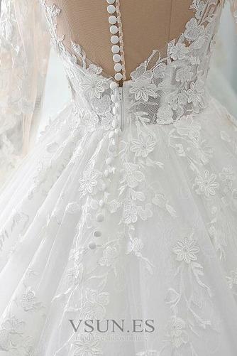 Vestido de novia Manga larga Corte-A Sala Pura espalda Cola Corte Otoño - Página 6