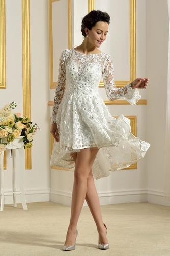 Vestido de novia Encaje Cremallera Natural Capa de encaje Barco Encaje - Página 3