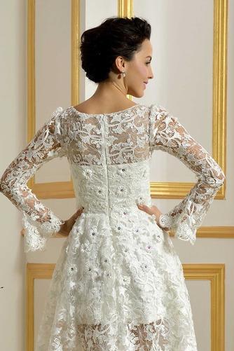 Vestido de novia Encaje Cremallera Natural Capa de encaje Barco Encaje - Página 5