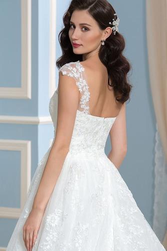 Vestido de novia Encaje Espalda Descubierta Corte-A Sala Otoño Cola Capilla - Página 5