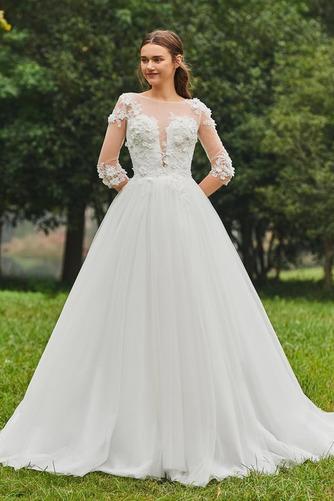 Vestido de novia Cola Barriba Barco tul Sin mangas Corte-A Pura espalda - Página 1