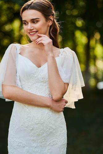 Vestido de novia Playa Corte Sirena Cola Barriba Cremallera tul Queen Anne - Página 4