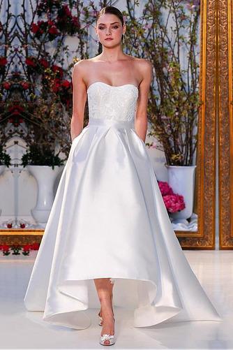 Vestido de novia Natural Asimètrico Dobladillos Sin tirantes Asimétrico Dobladillo - Página 1