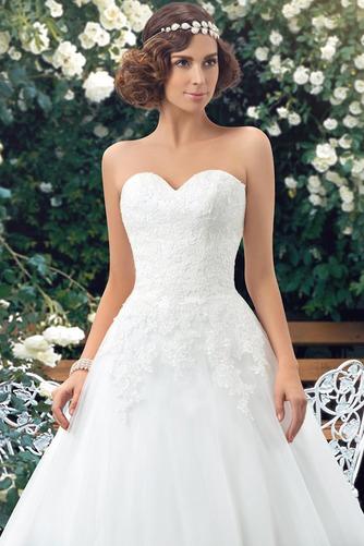 Vestido de novia Botón Escote Corazón Corte-A Encaje Espalda Descubierta - Página 4