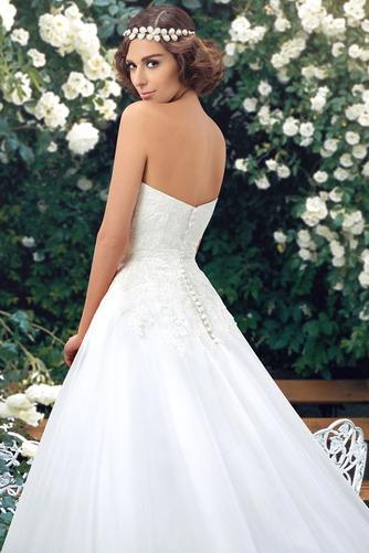 Vestido de novia Botón Escote Corazón Corte-A Encaje Espalda Descubierta - Página 5
