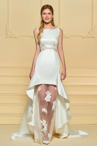 Vestido de novia Satén Plisado Triángulo Invertido Pura espalda Asimètrico - Página 1