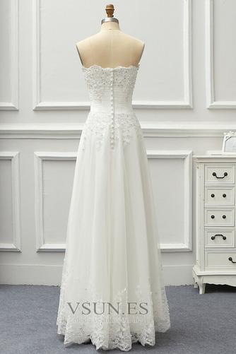 Vestido de novia Sin tirantes Sin mangas Corpiño Acentuado con Perla - Página 2