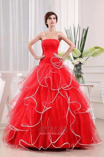 Vestido de fiesta Elegante Corte-A Organza Vasco Escalonado Sin mangas - Página 3