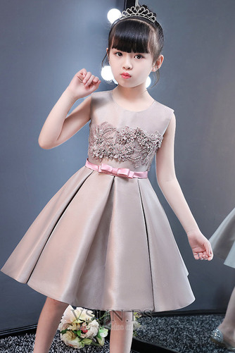 Vestido niña ceremonia Falta Satén Otoño Joya Sin mangas Corte-A - Página 4