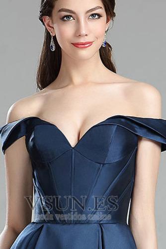 Vestido de fiesta Escote con Hombros caídos Tallas pequeñas Blusa plisada - Página 4