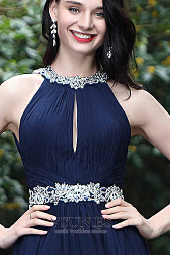Vestido de fiesta Sin mangas Blusa plisada Escote con cuello Alto Corte-A - Página 2