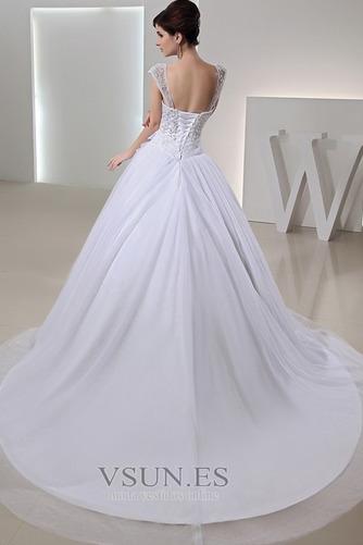 Vestido de novia Abalorio largo tul Escote con Hombros caídos Arco Acentuado - Página 2