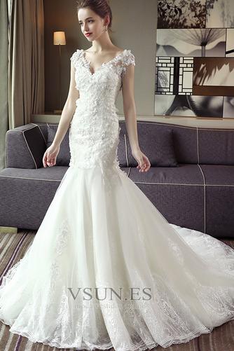 Vestido de novia Escote en V Sala Manga corta largo Cordón Encaje - Página 1
