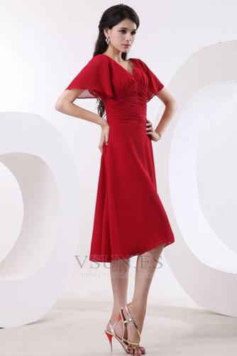 Vestido de dama de honor Escote en V Gasa adulto Natural Oscilación Hasta la Rodilla - Página 3