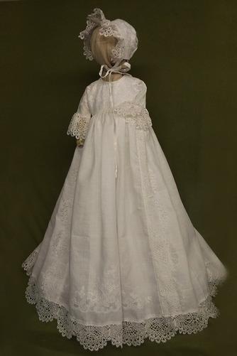Vestido de Bautizo Encaje Botón Corte princesa largo Imperio Cintura Tallas pequeñas - Página 1
