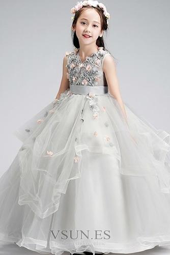 Vestido niña ceremonia Hasta el Tobillo Otoño Apliques tul Rosetón Acentuado - Página 4