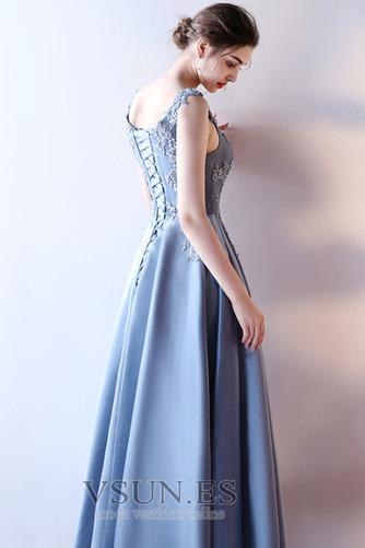 Vestido de fiesta Elegante Escote en V Abalorio Corte-A Satén Hasta el Tobillo - Página 4