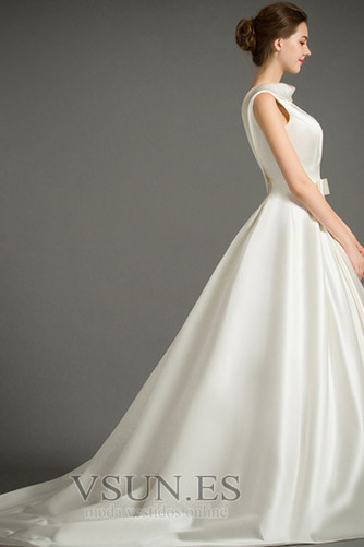 Vestido de novia Sin mangas Lazos Otoño Corte-A Natural Iglesia - Página 4
