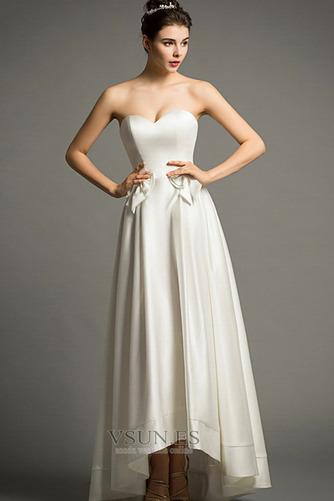 Vestido de novia Playa Cremallera Escote Corazón Lazos Natural Falta - Página 3