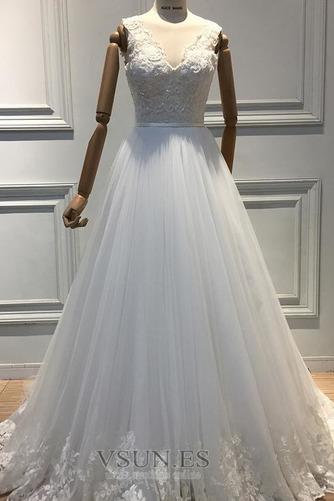 Vestido de novia Invierno Hasta el suelo Sala Apliques Cremallera Corte-A - Página 4