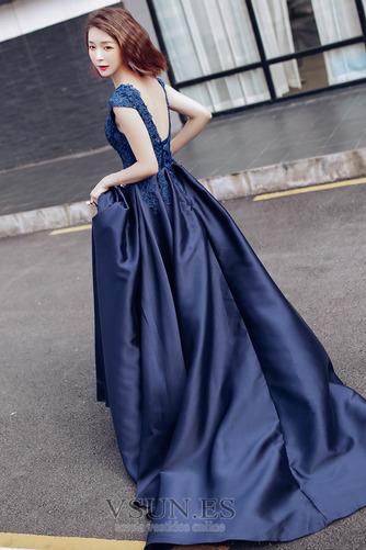 Vestido de fiesta Satén Natural Manzana Corte-A Abalorio primavera - Página 2