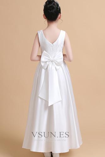 Vestido niña ceremonia Satén Joya Elegante primavera Hasta el Tobillo Encaje - Página 2