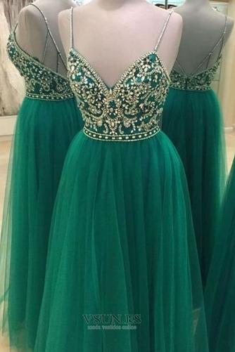 Vestido de fiesta Espectaculares Corte-A Baja escote en V tul Natural - Página 1