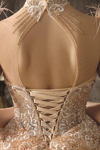 Vestido de novia primavera Cordón Cola Catedral Apliques Manga corta - Página 7