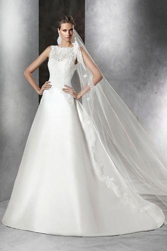 Vestido de novia Corte-A Sin mangas Natural Joya Sala Formal - Página 1